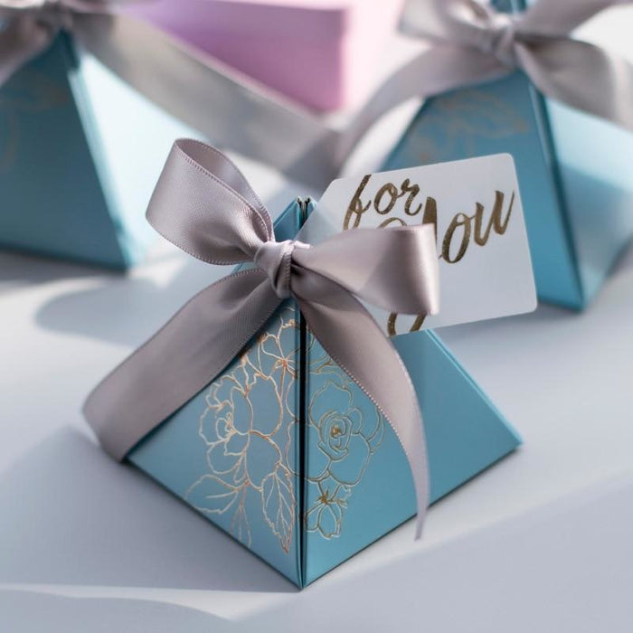 Triangular Pyramid Ribbon Bowknot Favor Holders | Bridelily - favor holders