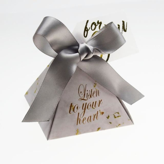 Triangular Pyramid Ribbon Bowknot Favor Holders | Bridelily - Silver / 20 PCS - favor holders
