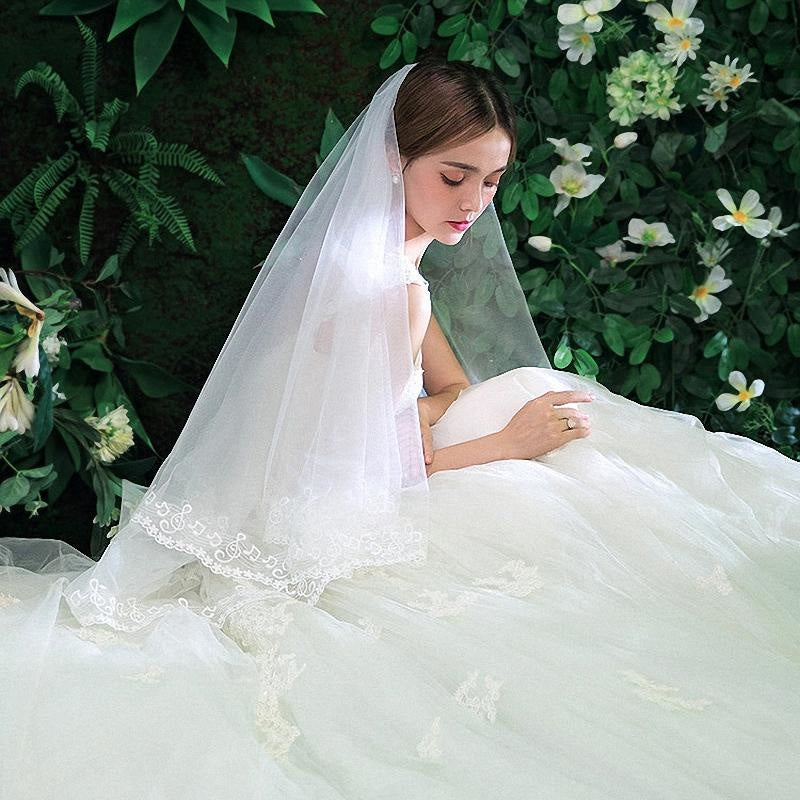 Two Layer with Comb Lace Edge Wedding Veils | Bridelily - wedding veils
