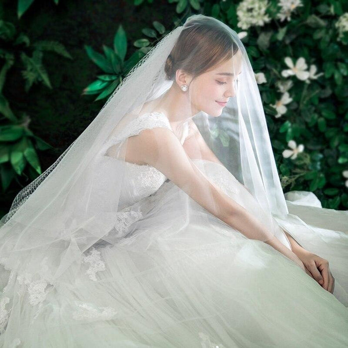Two Layers Elbow Length Soft Tulle Wedding Veils | Bridelily - wedding veils