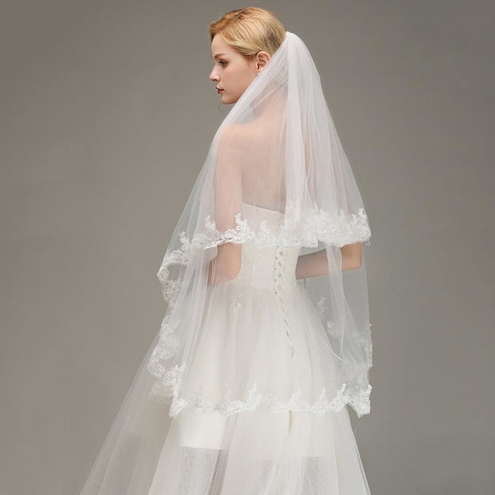 Two Layers Lace Edge Comb White Ivory Wedding Veils | Bridelily - wedding veils