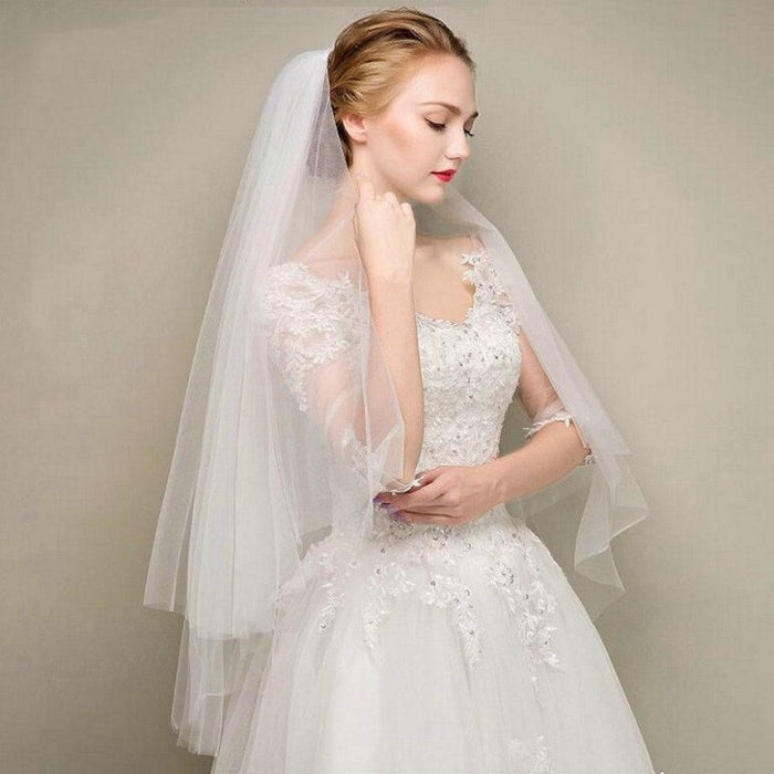 Two Layers Short Tulle White Comb Wedding Veils | Bridelily - wedding veils