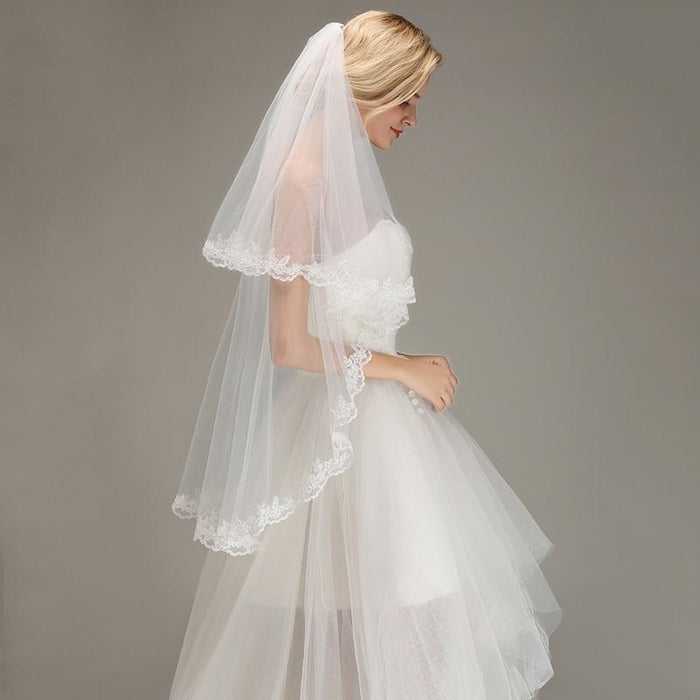 Two Layers Short with Comb Soft Wedding Veils | Bridelily - wedding veils