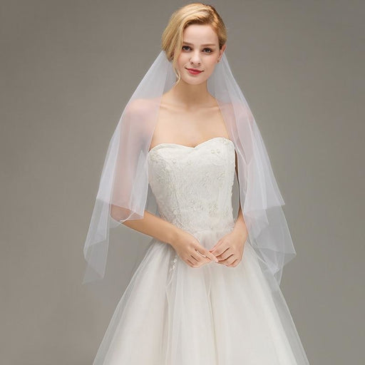 Two Layers Tulle Bridal With Comb Wedding Veils | Bridelily - wedding veils