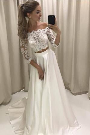 Two Piece 3/4 Sleeve Off the Shoulder Lace Satin Beach Wedding Dress - Wedding Dresses