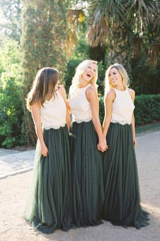 Two Piece Lace Bodice Tulle Skirt A Line Custom Bridesmaid Dress - Bridesmaid Dresses