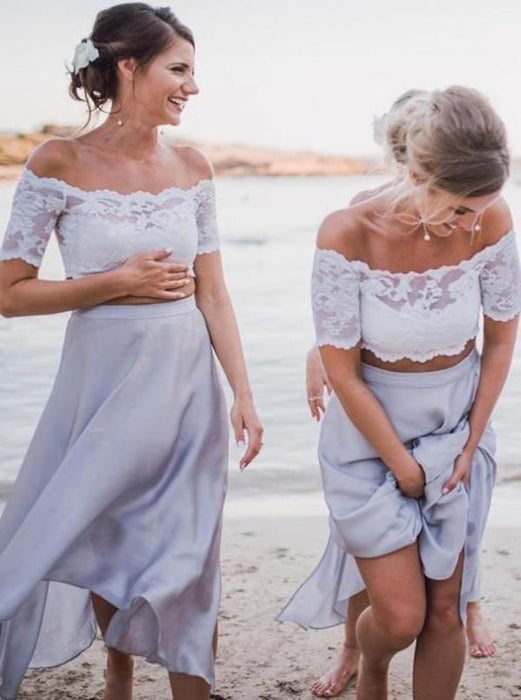 Two Piece Light Grey Bridesmaid Dress - Bridesmaid Dresses