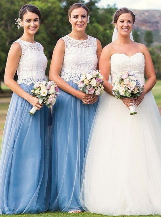 Two Piece Round Neck Half Sleeves Blue Tulle Bridesmaid Dress - Bridesmaid Dresses