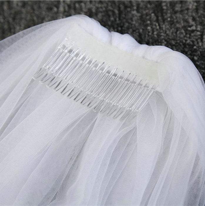 Two Tier Cut Edge Tulles With Comb Wedding Veils | Bridelily - WHITE / 75cm - wedding veils