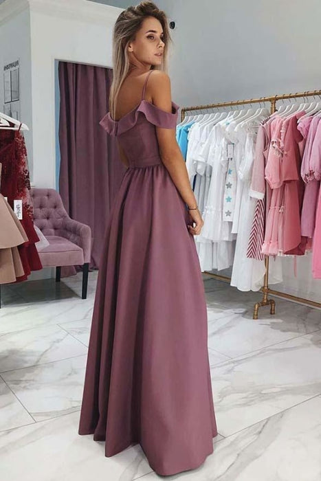 Unique Off the Shoulder Floor Length Prom with Side Slit A Line Long Formal Dress - Prom Dresses