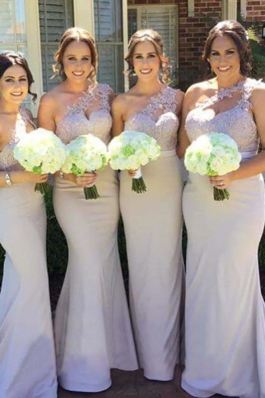 Unique One Shoulder Sleeveless Lavender Mermaid Bridesmaid Dress - Bridesmaid Dresses