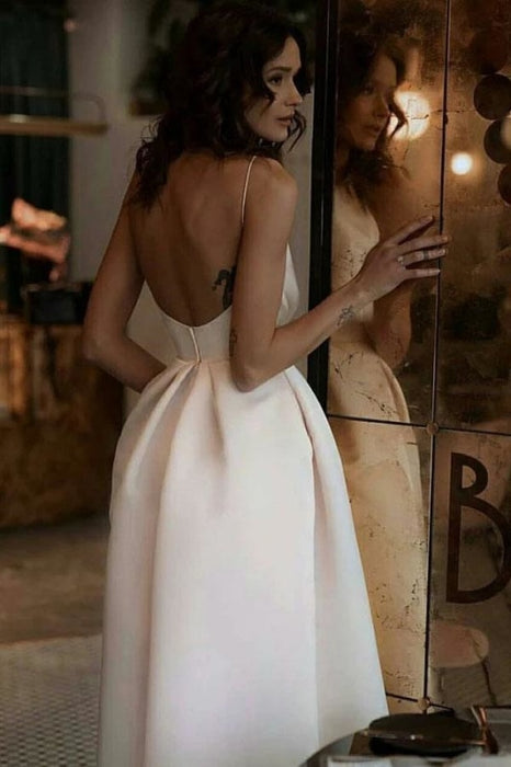 Unique Tea Length Satin Party Spaghetti Straps Backless Prom Dress - Prom Dresses
