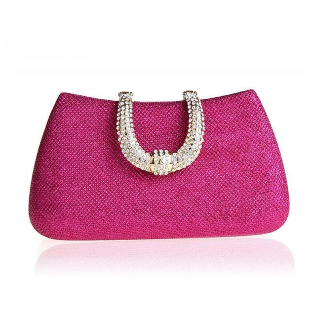 Unique U Shape Diamond Clasp Wedding Handbags | Bridelily - Rose Red - wedding handbags