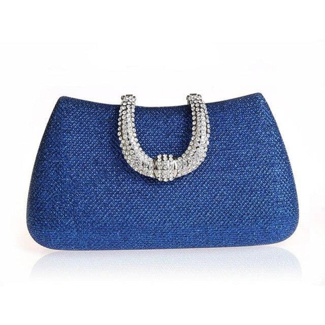 Unique U Shape Diamond Clasp Wedding Handbags | Bridelily - Blue - wedding handbags
