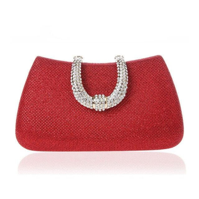 Unique U Shape Diamond Clasp Wedding Handbags | Bridelily - Red - wedding handbags