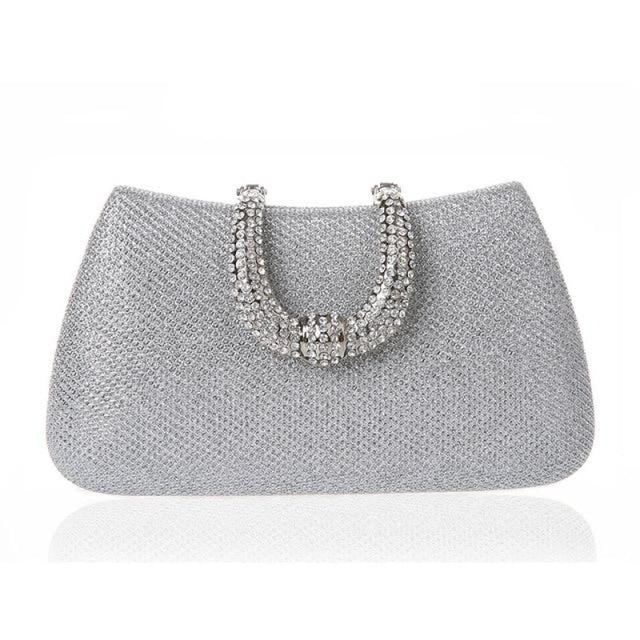 Unique U Shape Diamond Clasp Wedding Handbags | Bridelily - Silver - wedding handbags