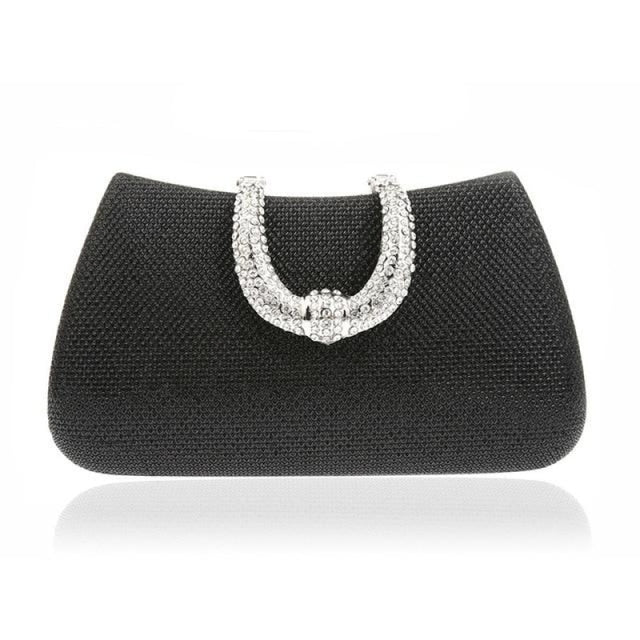 Unique U Shape Diamond Clasp Wedding Handbags | Bridelily - Black - wedding handbags