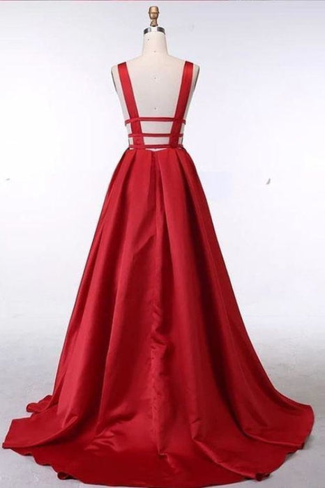 Unique V Neck Red Sleeveless Long Prom A Line Evening Dress with Open Back - Prom Dresses