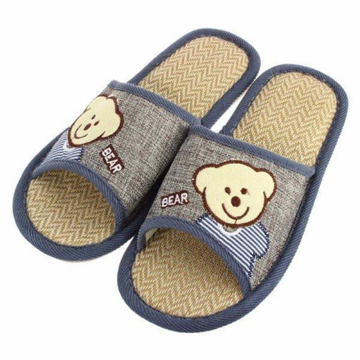Unisex Cute Bear Open Toe Slip On Flat Indoor Home Shoes - home shoes