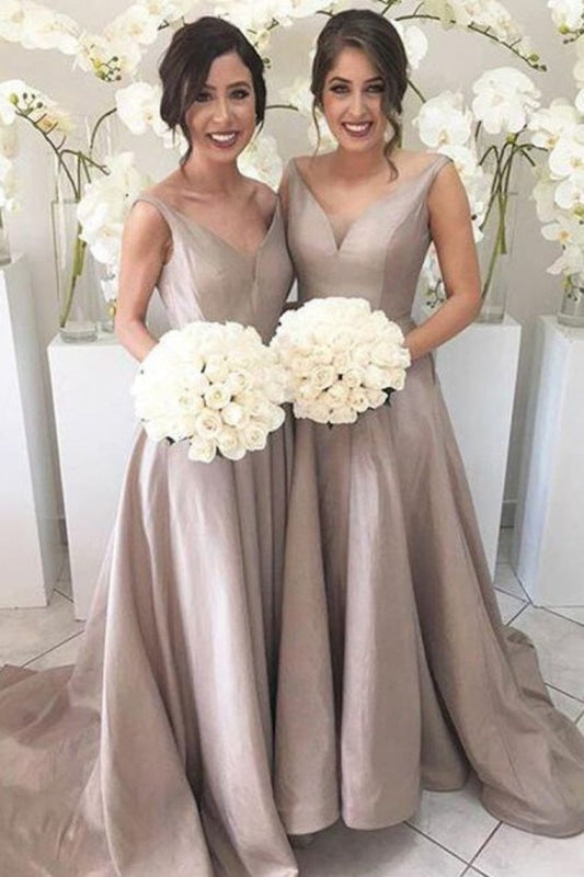 V Neck Bridesmaid Dresses A Line Satin Sweep Train Zipper Up - Bridesmaid Dresses