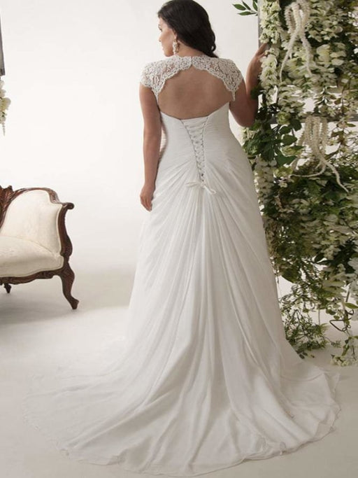 V-neck Cap Sleeves Sweep Train Appliqued Open Back Chiffon Bridal Gown - wedding dresses