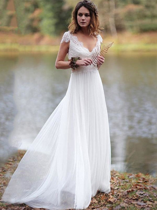 V-Neck Cap Sleeves Tulle Backless Boho Wedding Dresses - As Picture / Floor Length - wedding dresses