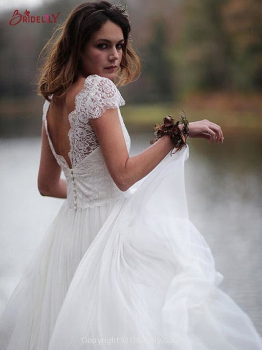 V-Neck Cap Sleeves Tulle Backless Boho Wedding Dresses - wedding dresses