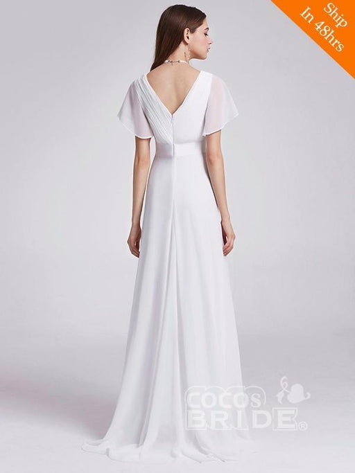 V Neck Flare Sleeve A Line Chiffon Wedding Dresses - wedding dresses