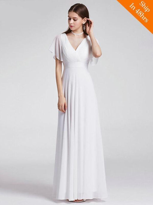 V Neck Flare Sleeve A Line Chiffon Wedding Dresses - White / 4 / United States Floor Length - wedding dresses