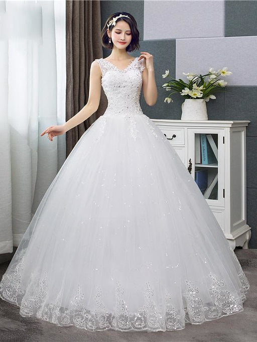 V-Neck Lace Tank Sleeveless Floral Print Ball Gown Wedding Dress - White - wedding dresses