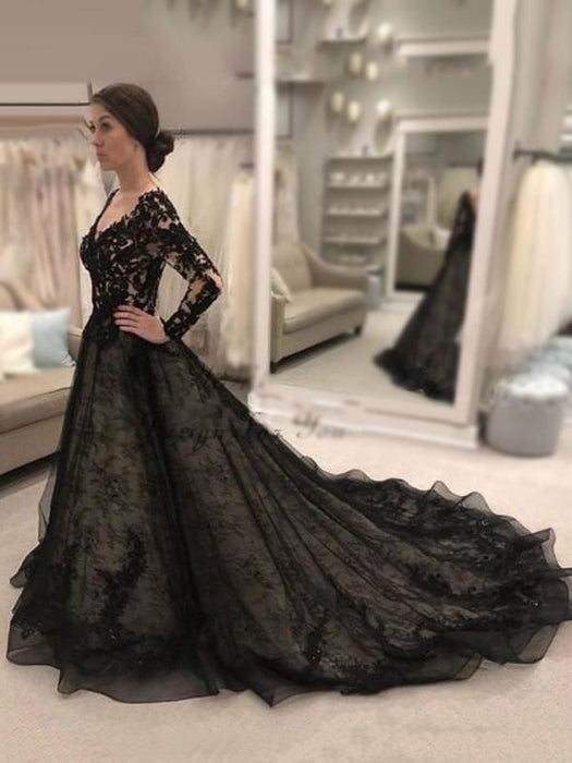 V-Neck Long Sleeves Bride Dresses Lace Black Wedding Dresses - Black - wedding dresses