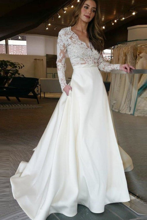 V Neck Long Sleeves Ruffles Wedding Dresses - Ivory / Floor Length - wedding dresses