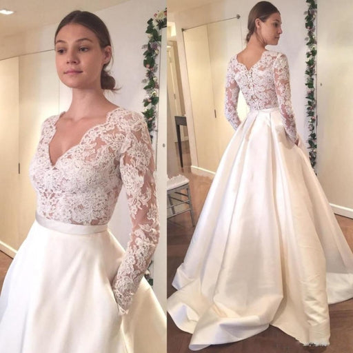 V Neck Long Sleeves Ruffles Wedding Dresses - wedding dresses