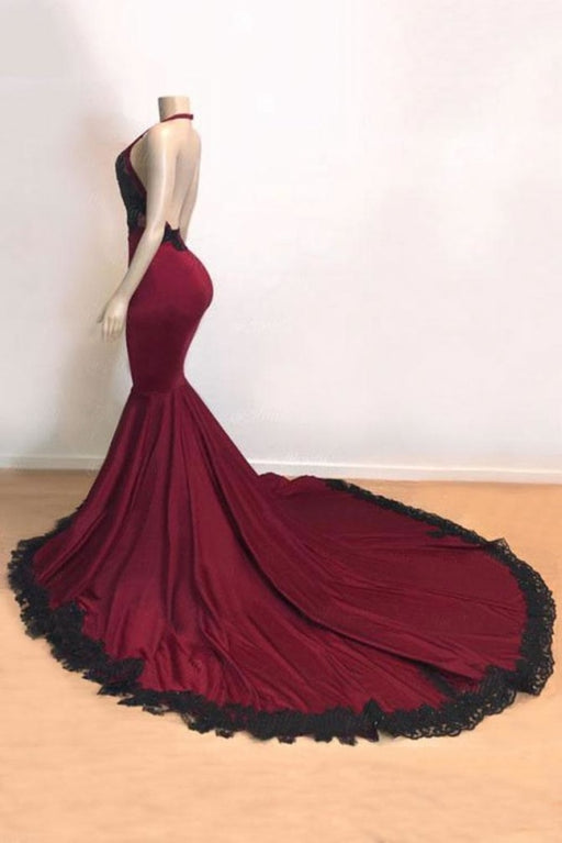 V-neck Open Back Appliques Burgundy Mermaid Prom Dress - Prom Dresses