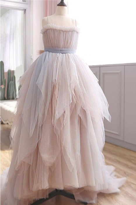 Vintage A Line Spaghetti Straps Blush Prom Puffy Ruffles Party Dresses - Prom Dresses