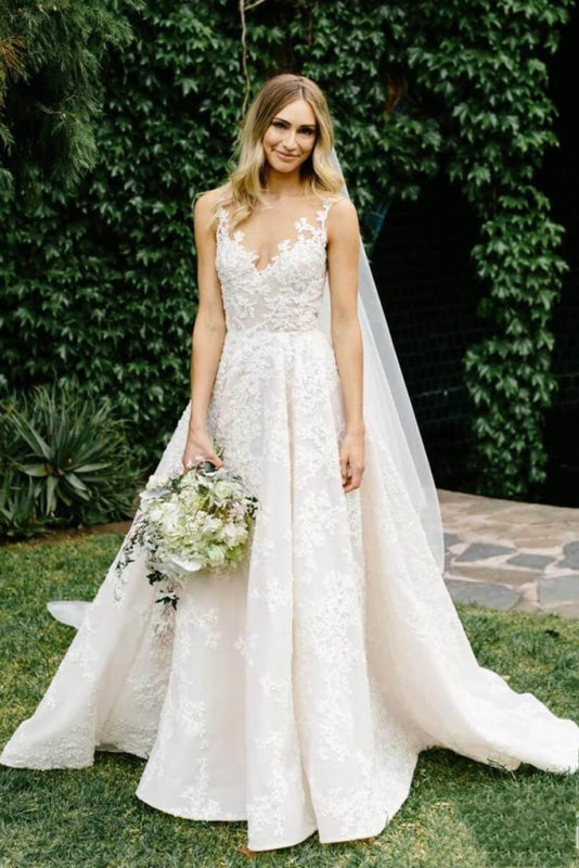 Vintage Appliques Lace Gowns Sleeveless Wedding Dress - Wedding Dresses