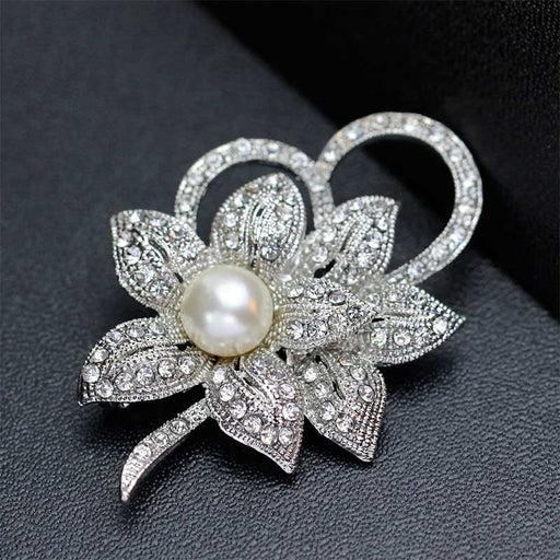 Vintage Clear Silver Plated Flower Bridal Brooches | Bridelily - brooches