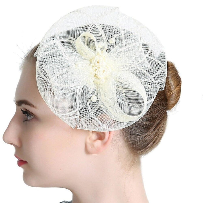 Vintage Hair Beads Feather Floral Fascinators | Bridelily - fascinators