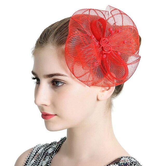 Vintage Hair Beads Feather Floral Fascinators | Bridelily - Red - fascinators