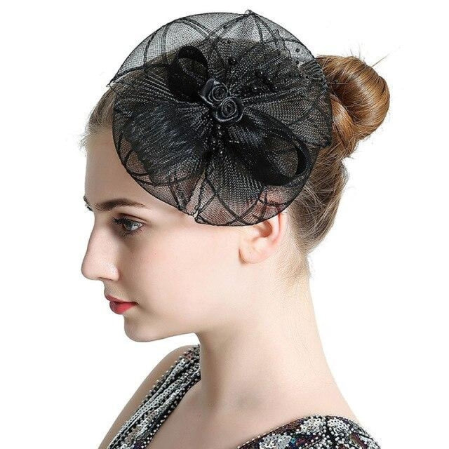 Vintage Hair Beads Feather Floral Fascinators | Bridelily - Black - fascinators
