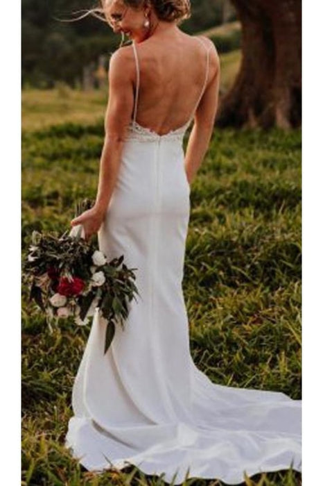 Vintage Lace Top Spaghetti Strap Backless Long Cheap Wedding Dress - Wedding Dresses