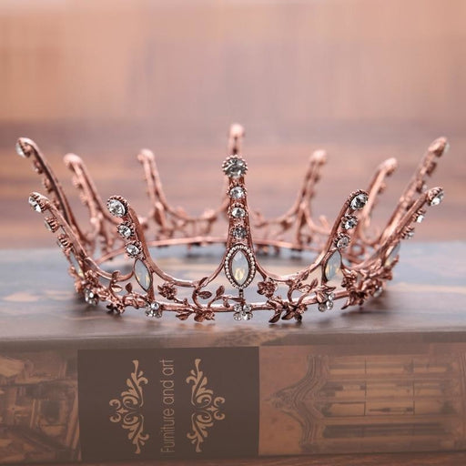 Vintage Round Crown Crystal Tiaras | Bridelily - Same as picture colour - tiaras