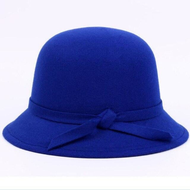 Vintage Solid Wool Felt Bowler Bowler/Cloche Hats | Bridelily - blue - bowler/cloche hats