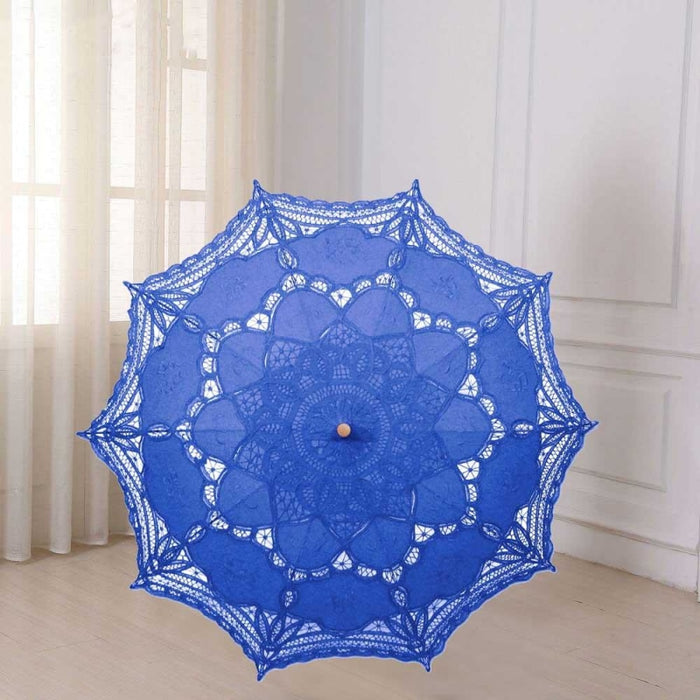 Vintage Style Embroidered Wedding Umbrellas | Bridelily - Blue - wedding umbrellas