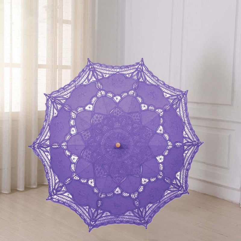 Vintage Style Embroidered Wedding Umbrellas | Bridelily - Purple - wedding umbrellas
