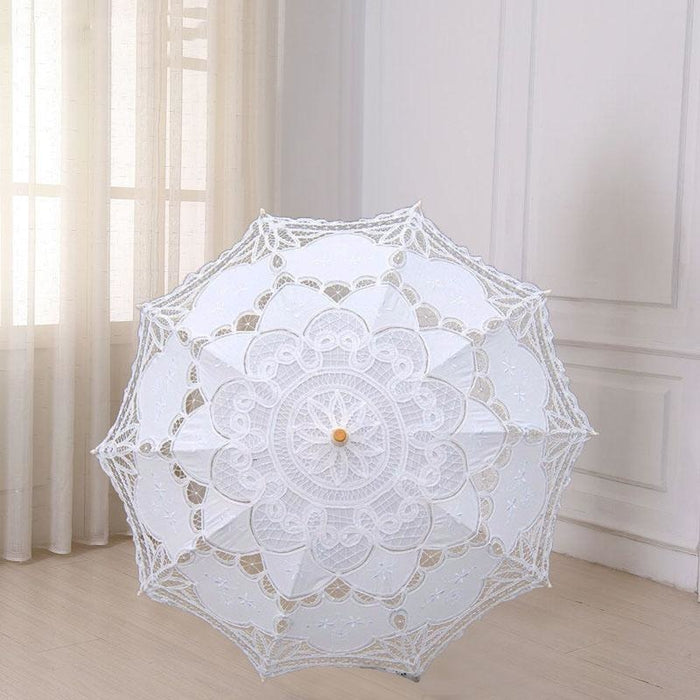 Vintage Style Embroidered Wedding Umbrellas | Bridelily - White - wedding umbrellas