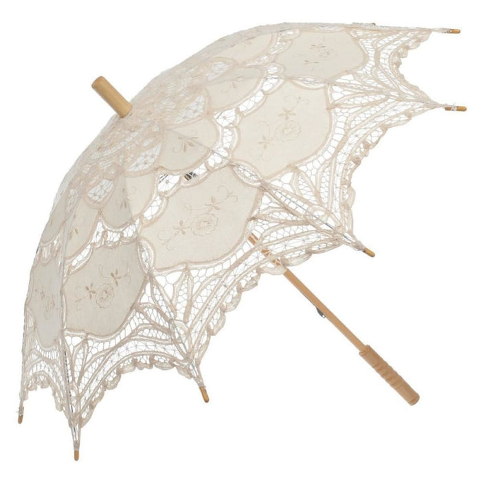 Vintage Victorian Lace Wedding Umbrellas | Bridelily - Beige - wedding umbrellas