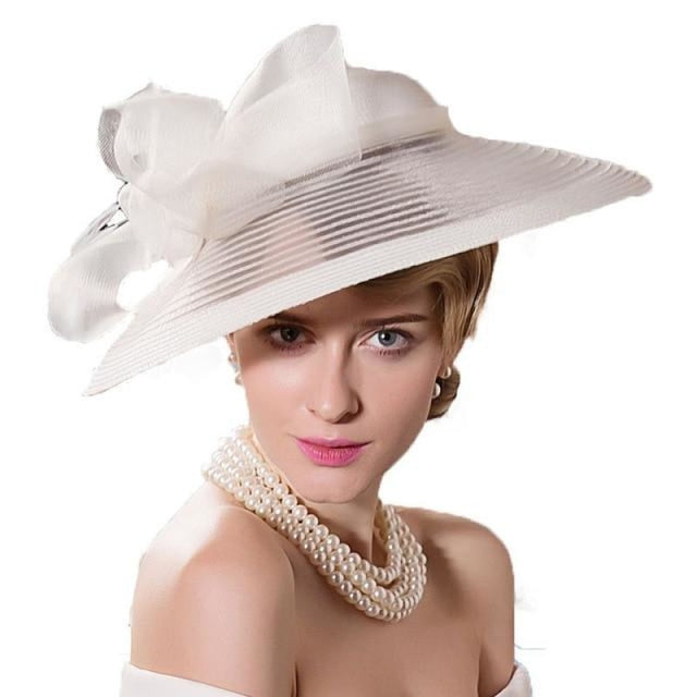 Vintage Wide Brim Bow Church Kentucky Derby Hats | Bridelily - White Fascinators / 55-57cm - kentucky derby hats