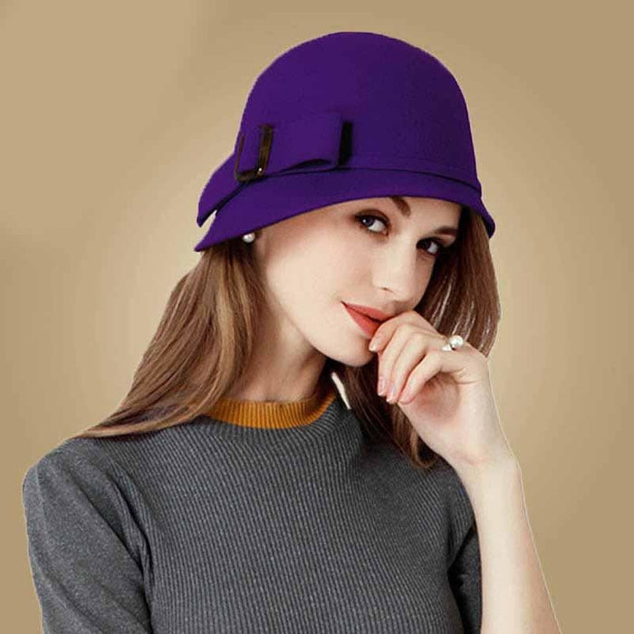 Vintage Wool Felt With Bowknot Bowler/Cloche Hats | Bridelily - Purple Fedora / 53-57CM - bowler/cloche hats