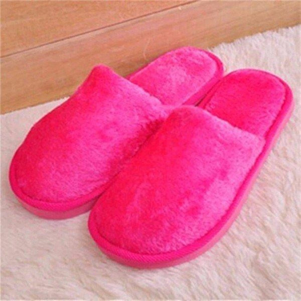 Warm For Woman Home House Floor Soft Plush Slippers - Rose / US 5 - home shoes